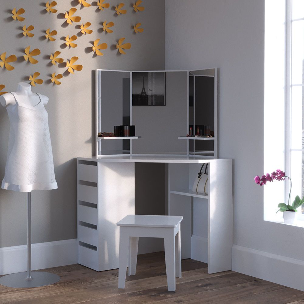 Dressing Table Vanity Table With Mirror Corner Dresser White Jewelry Furniture  Furniture