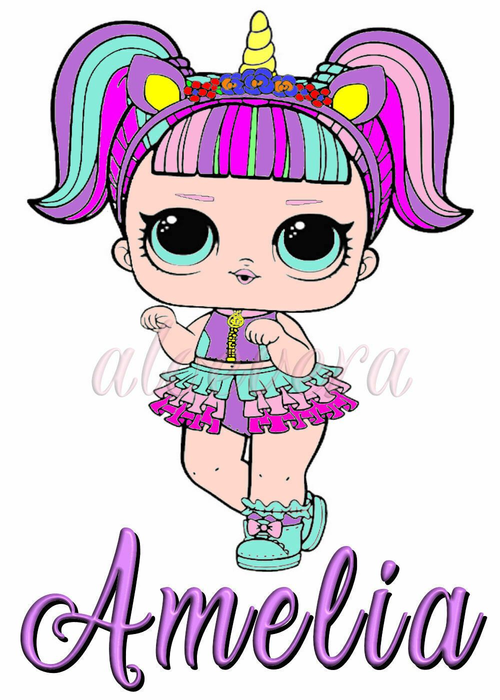 Cute lol doll unicorn personalised iron on transfer to