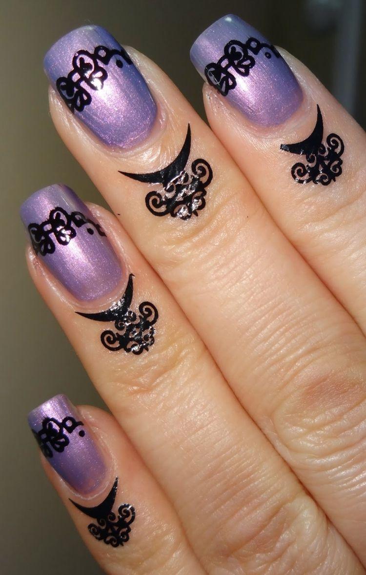 nageldesign trend 2016 elegant lila naegel tattoo gothik stil ...