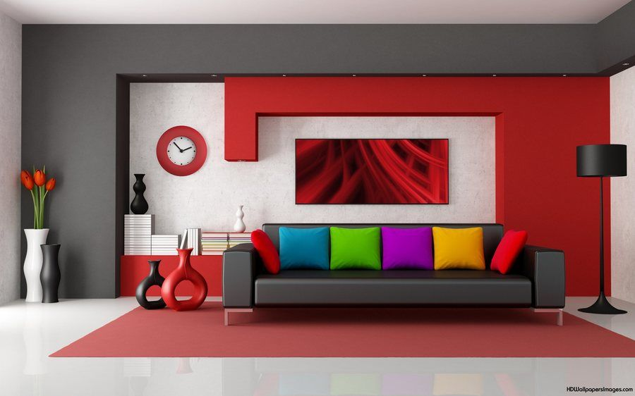 Red and Grey Wall Scheme in Simple Modern Living Room remppa - deco salon rouge et blanc