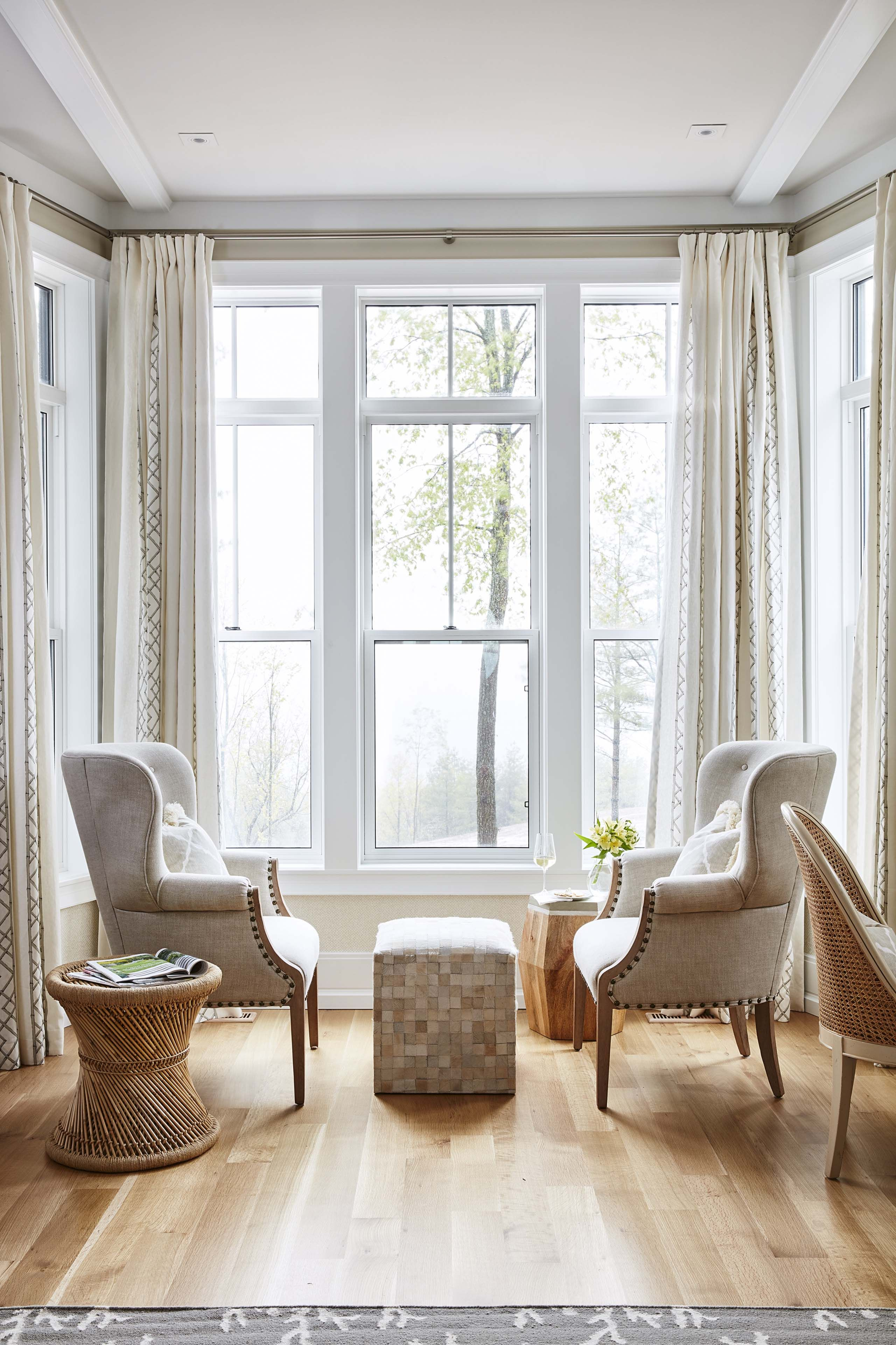 Shop the Room! Sarah Richardson's Ontario Living Room. #wingchairs #leatherpouf