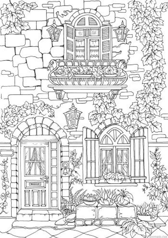 Fancy Exterior - Printable Adult Coloring Page from Favoreads (Coloring book pages for adults and kids, Coloring sheets, Colouring designs)