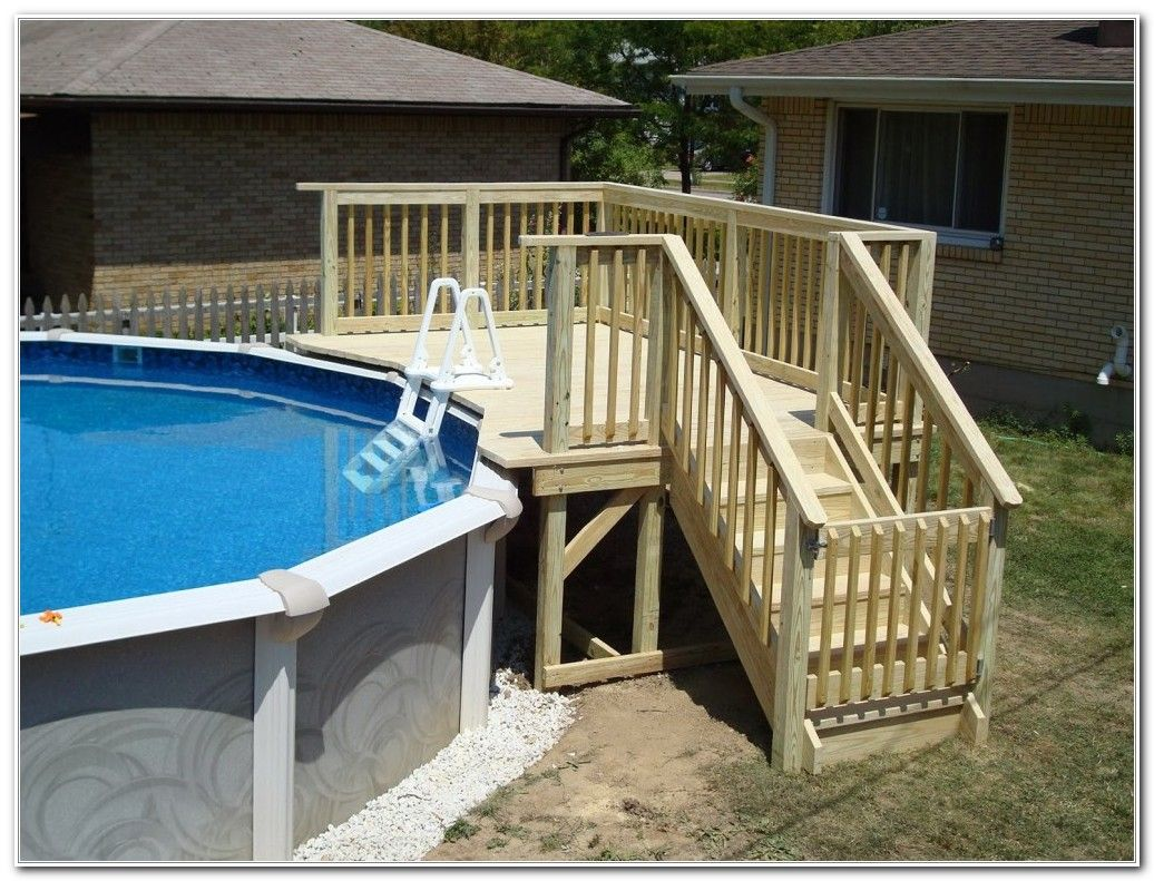 Above Ground Pool Small Deck Ideas In 2020 Pool Steps Above