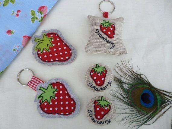 Handmade Strawberry Brooch Badge Red by PeacockEmporiumLady