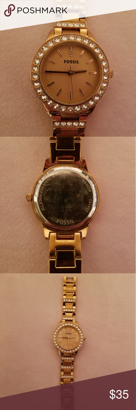 Fossil Rose Tone Watch Needs Battery Replacement Fossil Accessories Fossil Watch Fossil