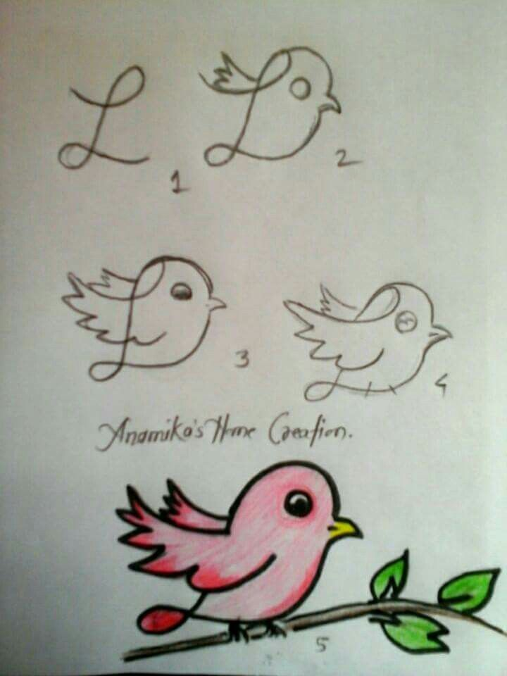 how to draw a simple bird for kids