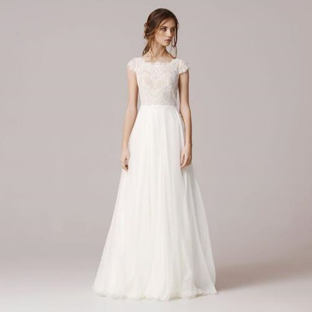 Spanish Lace Wedding Dresses For Brides A Line Scoop Floor