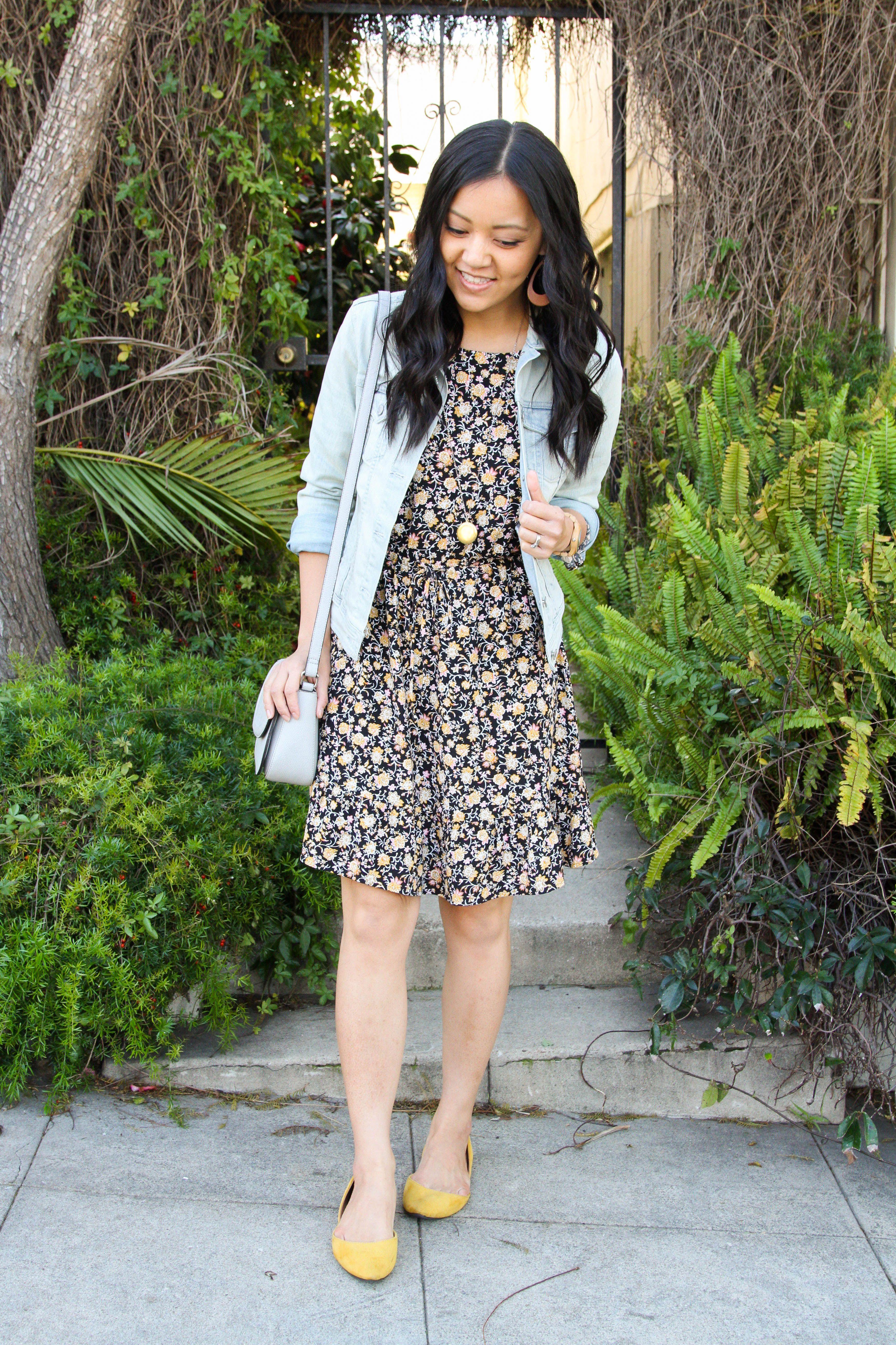 b8c097ec5c24 Black Floral Dress + Denim Jacket + Yellow Flats + Grey Crossbody Bag