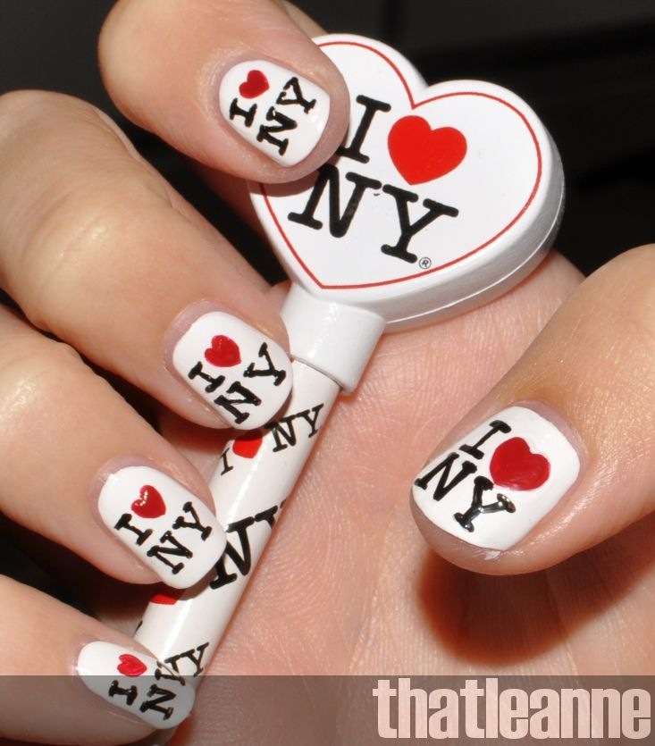 I Love NY, nails, manicure | nail biters. | Pinterest | Nail ...