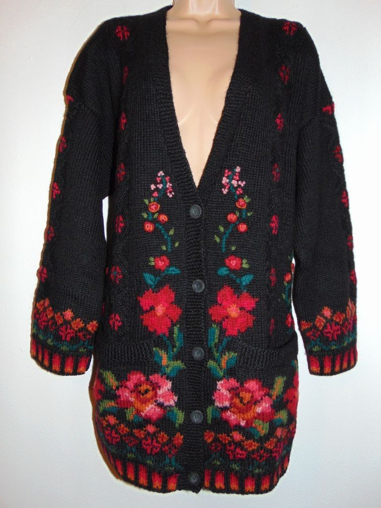 NWT Laura Ashley vintage hand knitted intarsia floral heavy