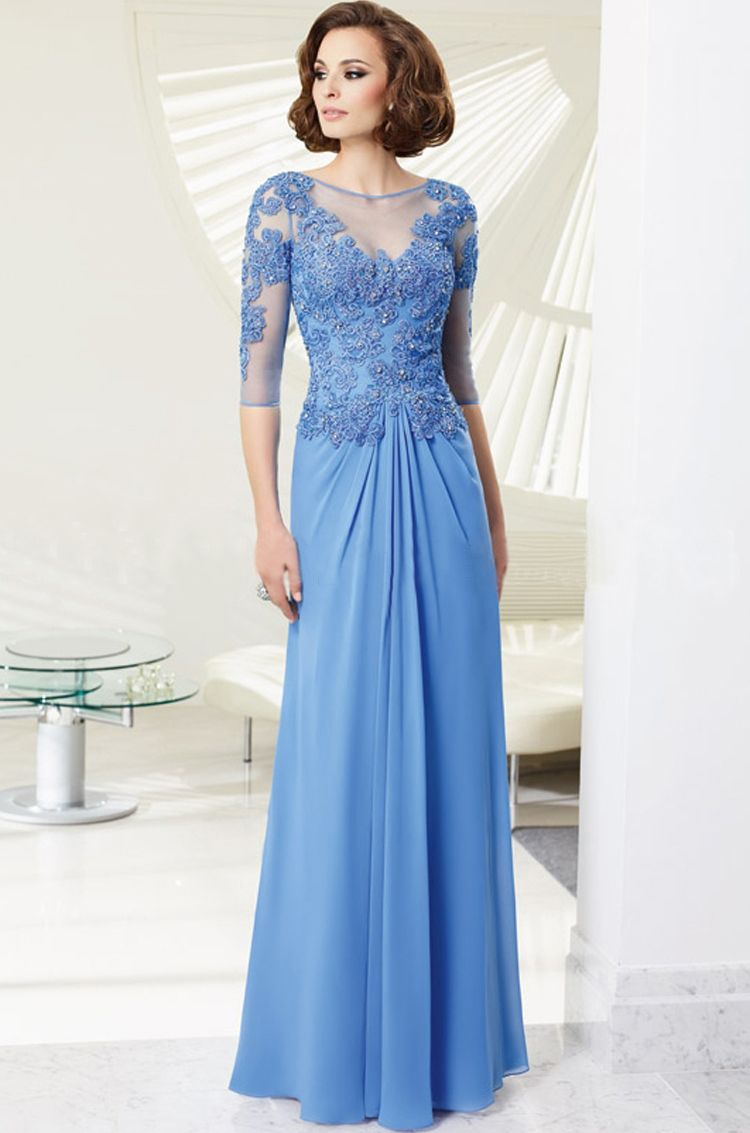 Sophisticated Long-sleeved Intricately Laced Long Formal Chiffon ...