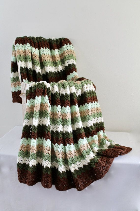 Afghan - Queen Size Crochet Blanket - Double Stitch Throw in Brown ...