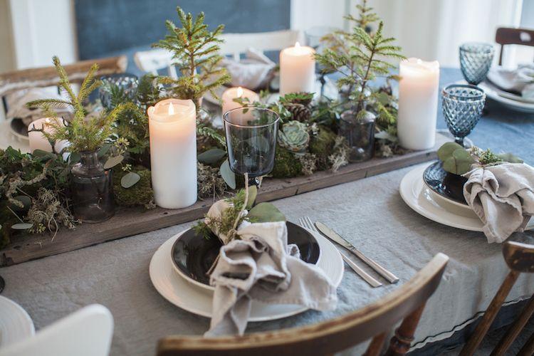 déco,table,Noël,naturelle,centre,table,succulentes,branches,