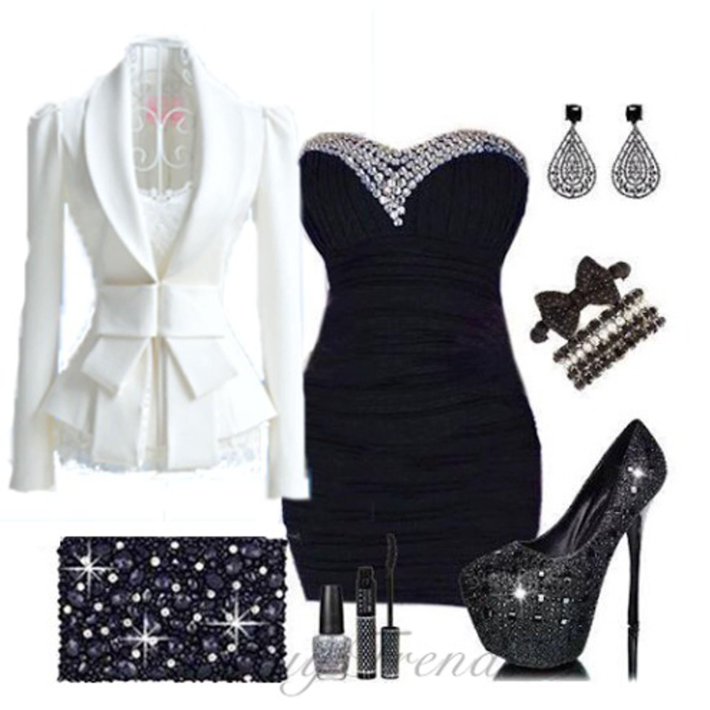 Vestido negro saco blanco