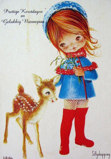 Vintage Big Eyed Girl Postcard. Sillyshopping | Flickr - Photo Sharing!