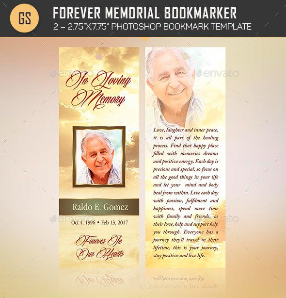 Forever Memorial Bookmark Template Bookmark template, Stationery - death announcement templates