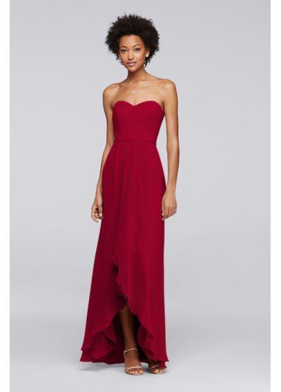 Strapless Bridesmaid Dress with High-Low Hem F19262