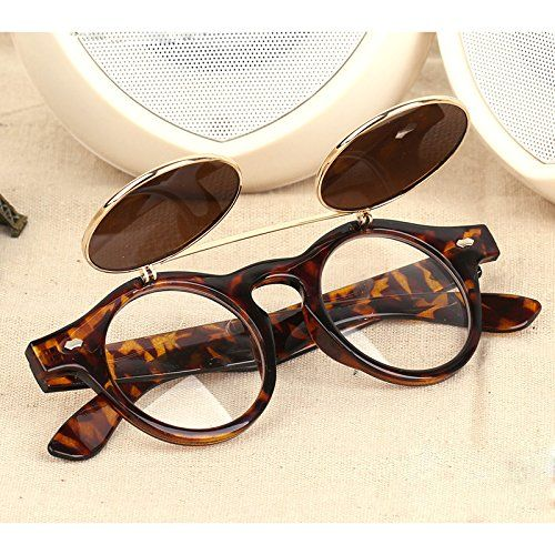 b7308a9ed74 TOOGOO(R)New Vintage Retro Steampunk Sunglasses Round Flip Up Glasses   Amazon.co.uk  Health   Personal Care