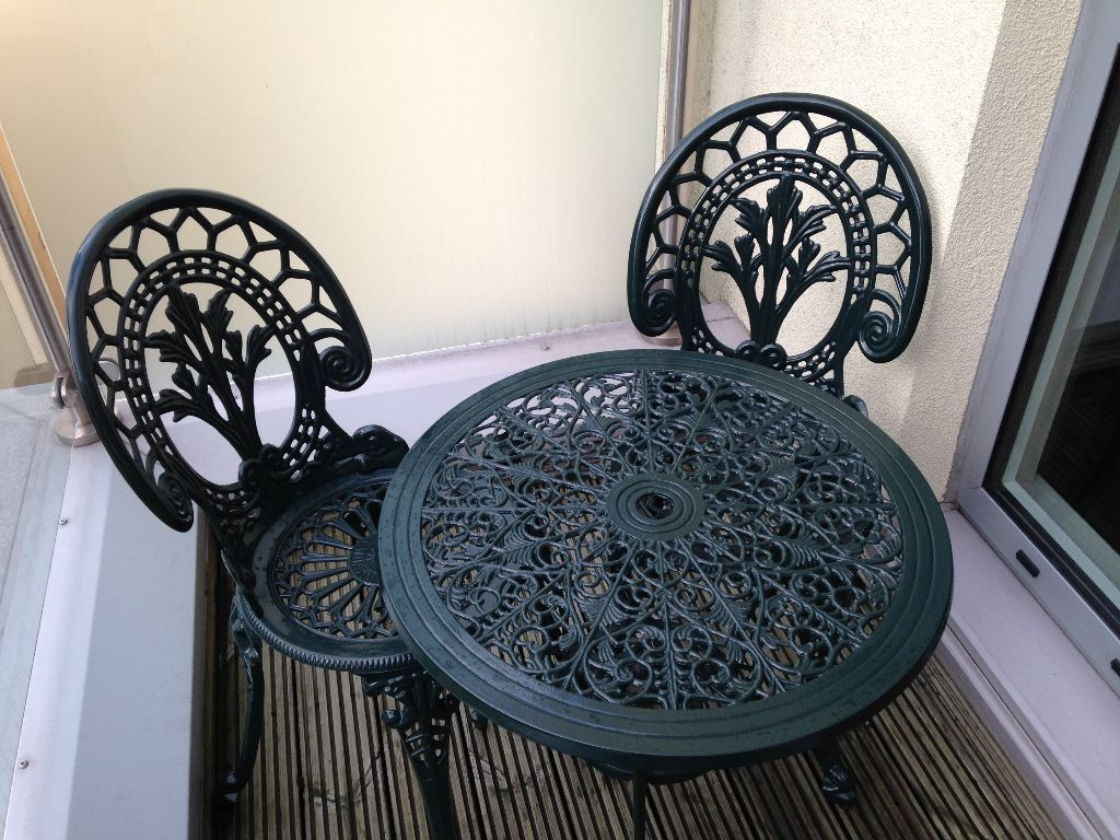 Green Wrought Iron Patio Table And Two Chairs London Gumtree