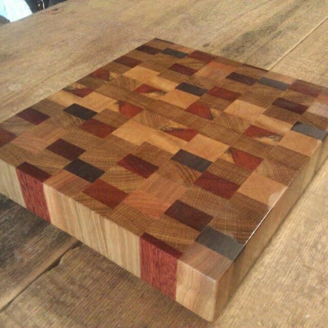 end grain butcher block cutting board made from ash ipe maple and brazilian