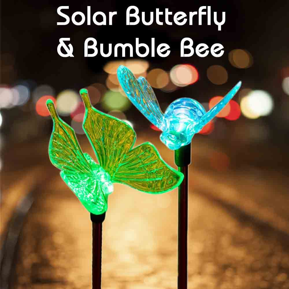 Garden Solar Lights Color Changing Butterfly & Bumble Bee Stake ...