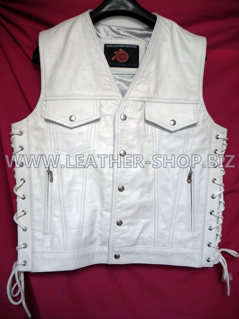 Mens white leather vest, jean jacket style MLV1335 custom made available in all colors and sizes $199