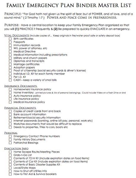 Create A Family Emergency Plan Simply Fresh Designs By Verna - Family emergency plan template