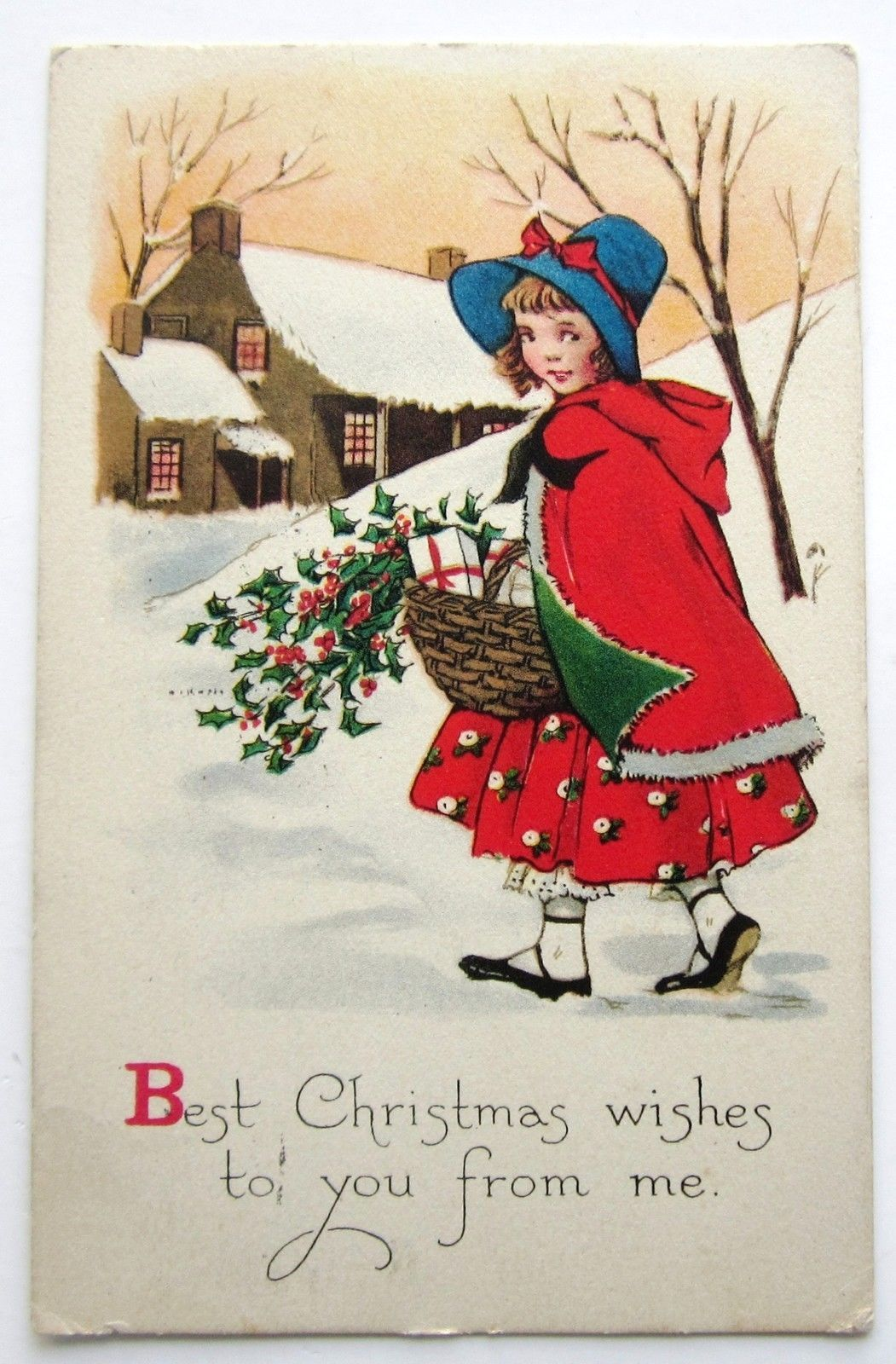 Art deco girl in red cape gibson lines christmas wishes postcard in art deco girl in red cape gibson lines christmas wishes postcard in collectibles postcards holidays ebay m4hsunfo