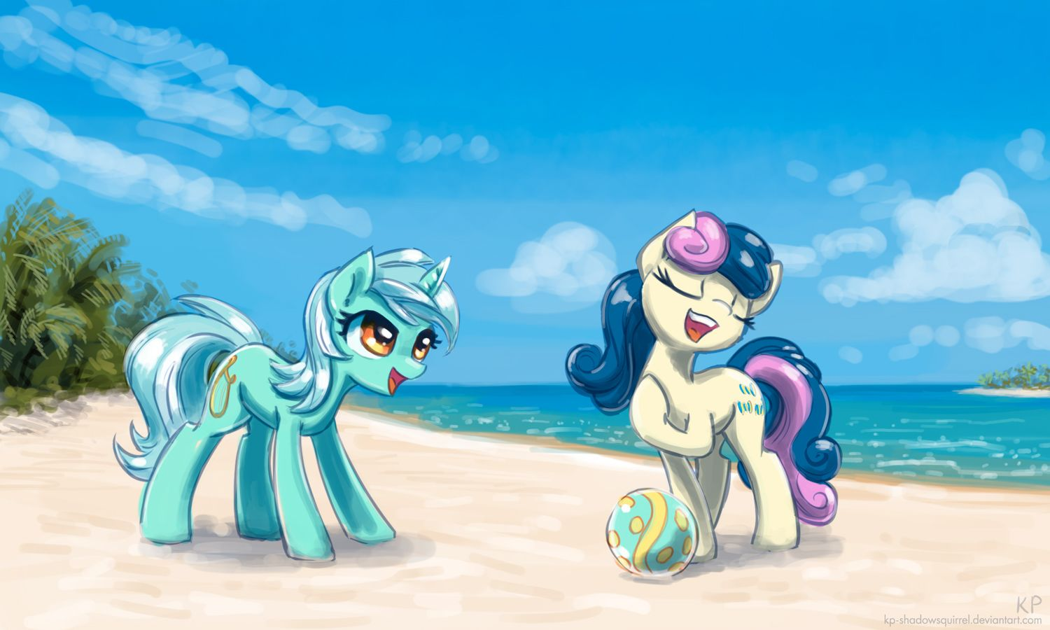 Lyra and Bon Bon at the beach by KP-ShadowSquirrel on deviantART | My  little pony drawing, My little pony wallpaper, My little pony friendship