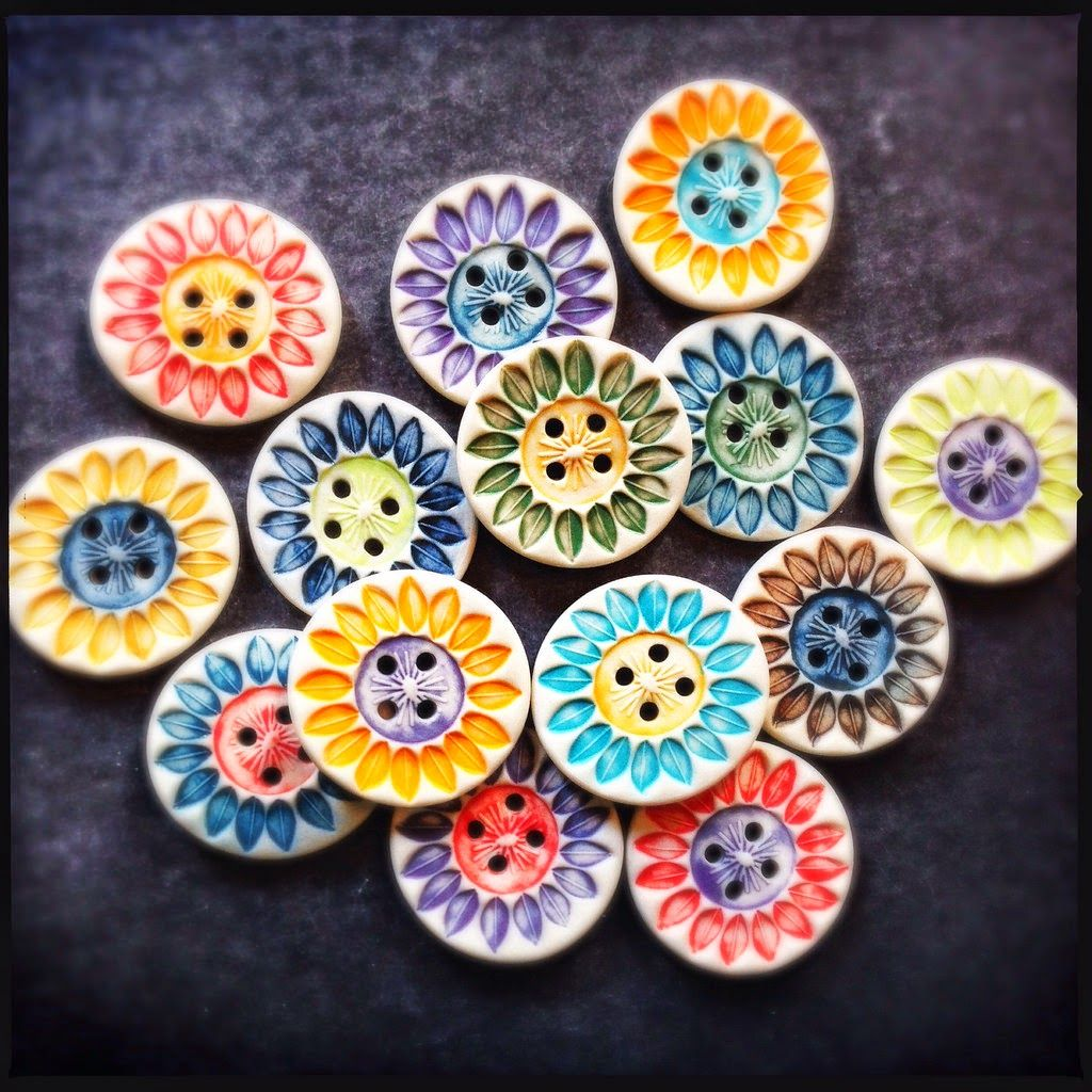 Porcelain sunflower buttons by Round Rabbit.