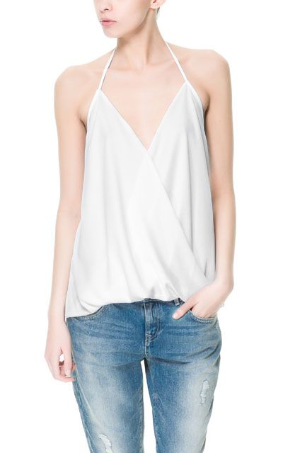STRAPPY TOP WITH CROSSOVER NECKLINE - Collection - TRF - New collection | ZARA United States