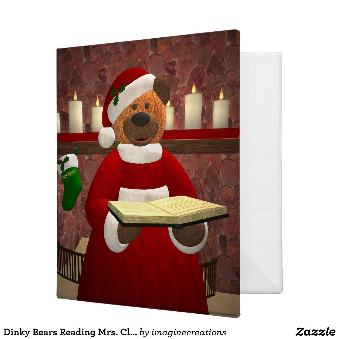Dinky Bears Reading Mrs. Claus 3 Ring Binder