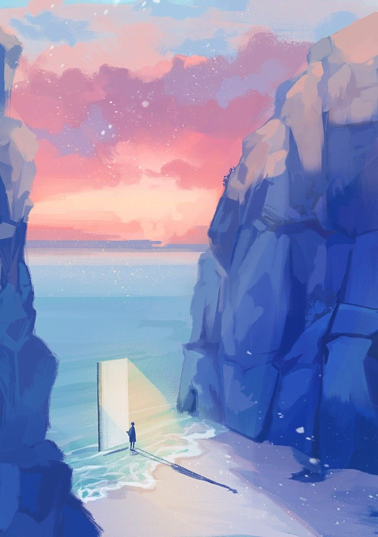 Pin By Alisaadi On Anime Art Anime Scenery Fantasy Landscape Aesthetic Art