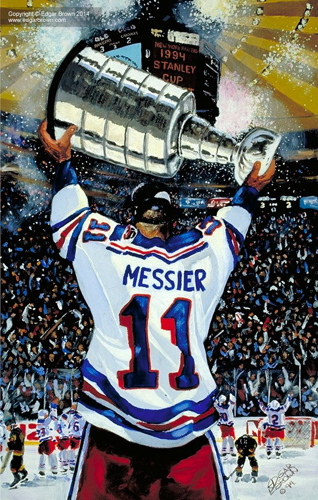 Edgar J. Brown Hockey painting features Mark Messier holding up the Stanley  Cup after the New York Rangers won the Stanley Cup in 1994. 5d6f84199