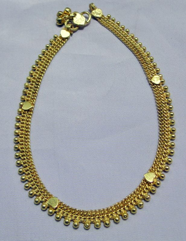 22 k solid gold anklet ankle chain -11139 - www.tribalexport.com ...