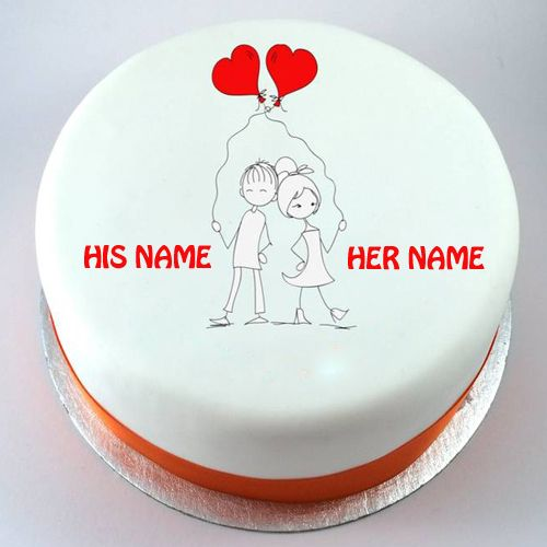 Birthday Cake Designs Love : Write Name on Kissing Couple Birthday Cakes Online Happy ...