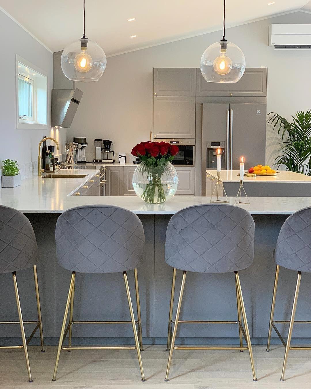 Be Inspired By Velvet For Your Kitchen Breakfast Bar Decor Kitchenwithislands Breakfast Bar Lighting Modern Kitchen Bar Breakfast Bar Chairs