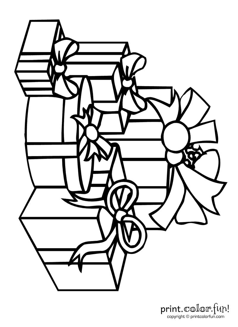 Pile of presents | Print. Color. Fun! Free printables, coloring ...