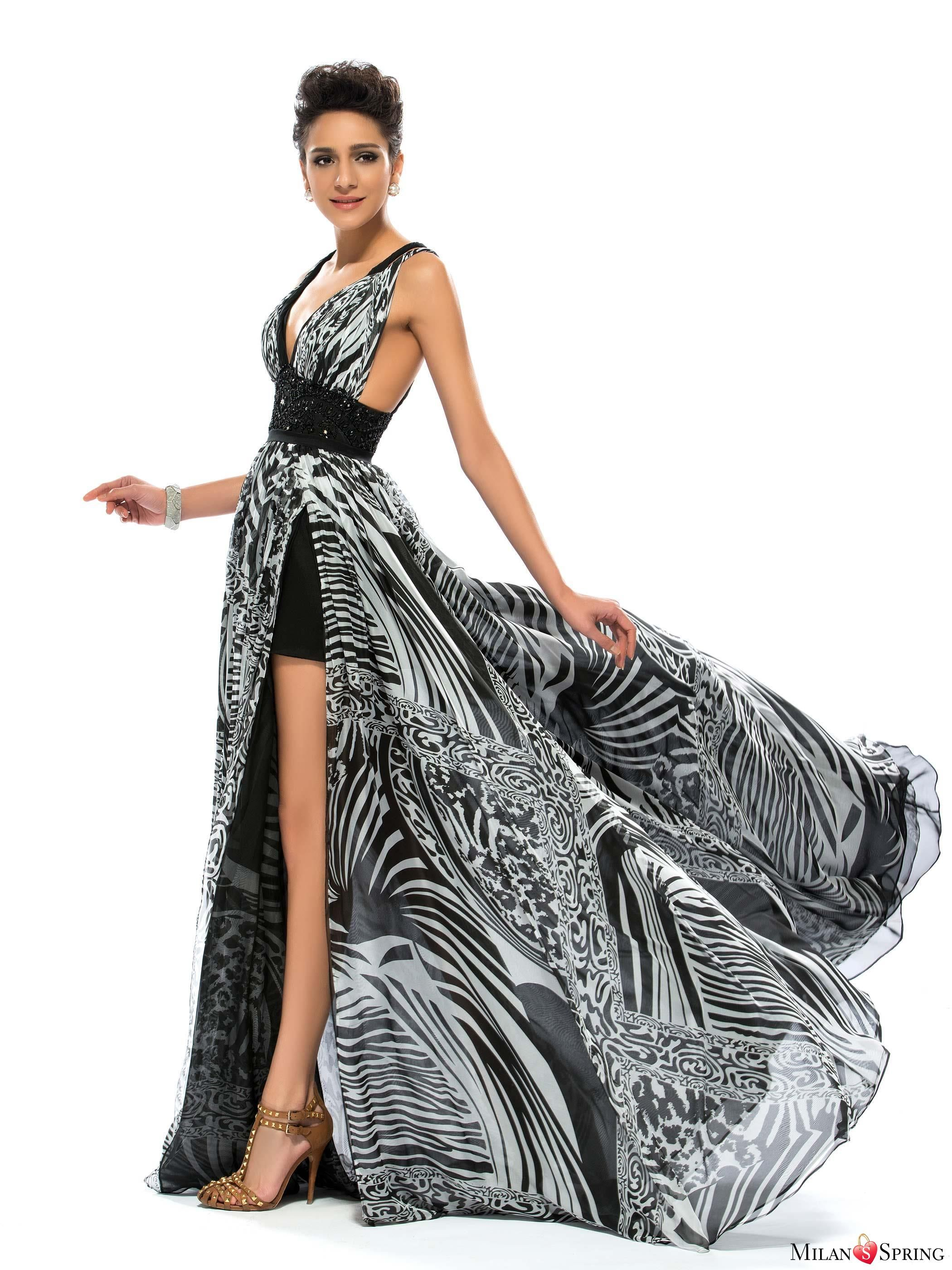 Sexy V-Neck A-Line Beading Floor-Length Printing Criss-Cross Straps Summer Dress