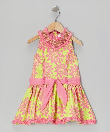 Lime Flower Princess A-Line Dress - Toddler & Girls by Trish Scully Child on #zulily