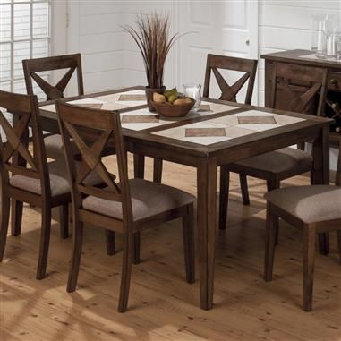 Tucson Casual Brown Wood Tri Color Tile Top Dining Table