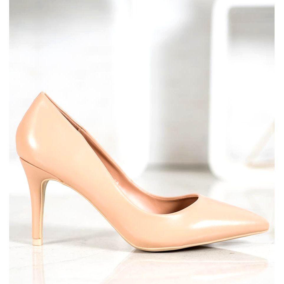 Small Swan Eleganckie Bezowe Szpilki Bezowy Heels Fashion Shoes