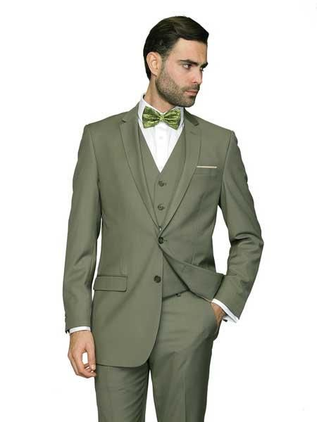 6dbf7c0b225 Product SM1065 3 Piece Single Breasted Sage ~ Light Green Vested Italian  Wool Fabric Slim narrow Style Fit Suit