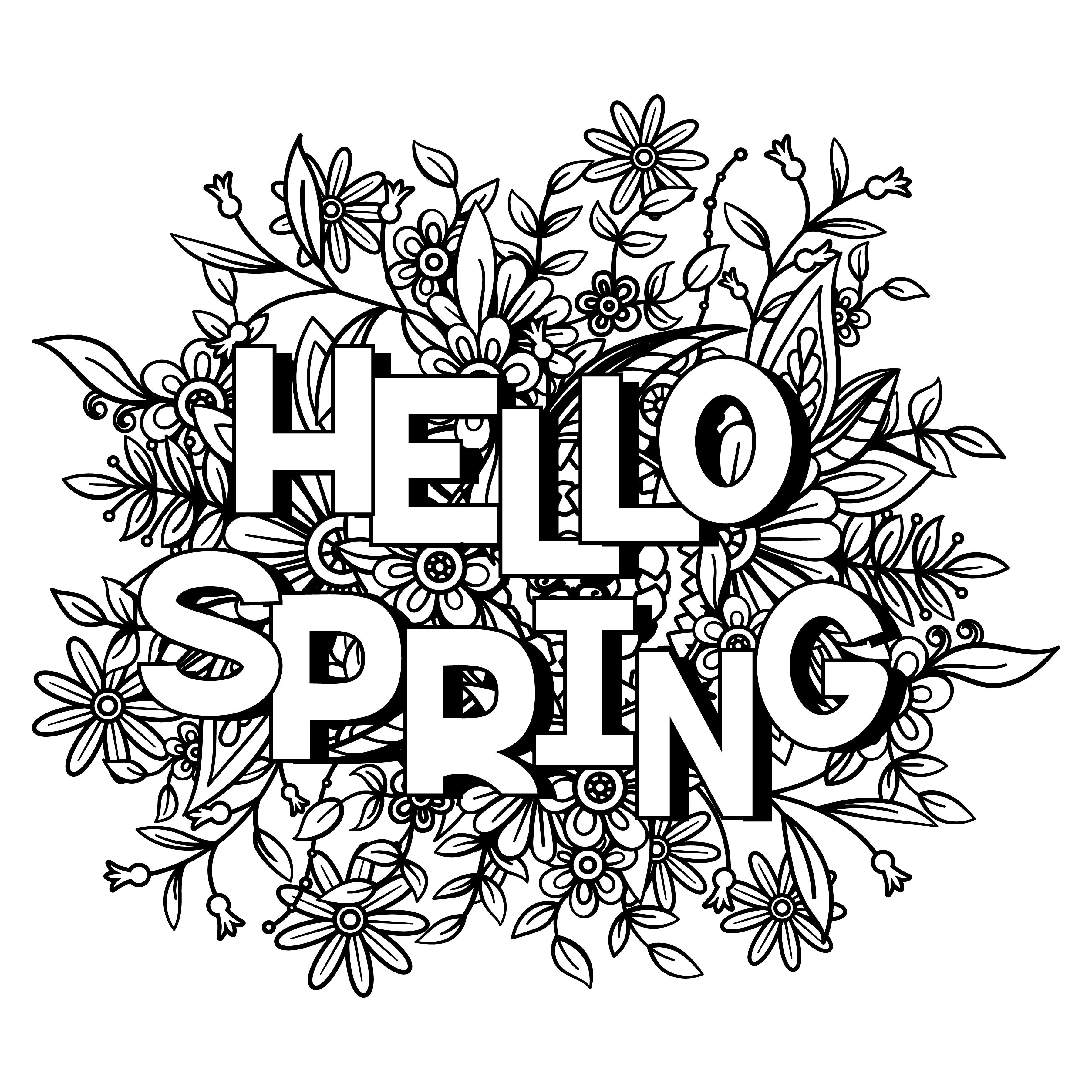 Hello Spring Coloring Sheet Images