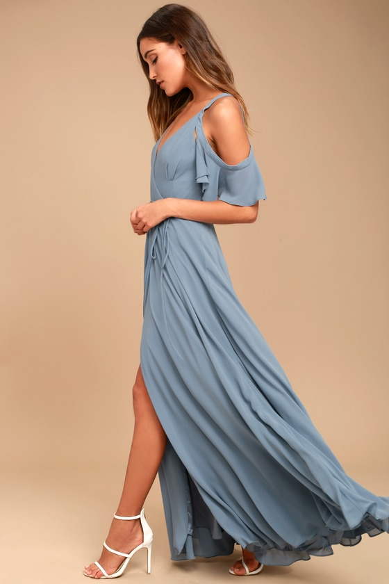 e5231f9a Lulus | Easy Listening Slate Blue Off-the-Shoulder Wrap Maxi Dress ...
