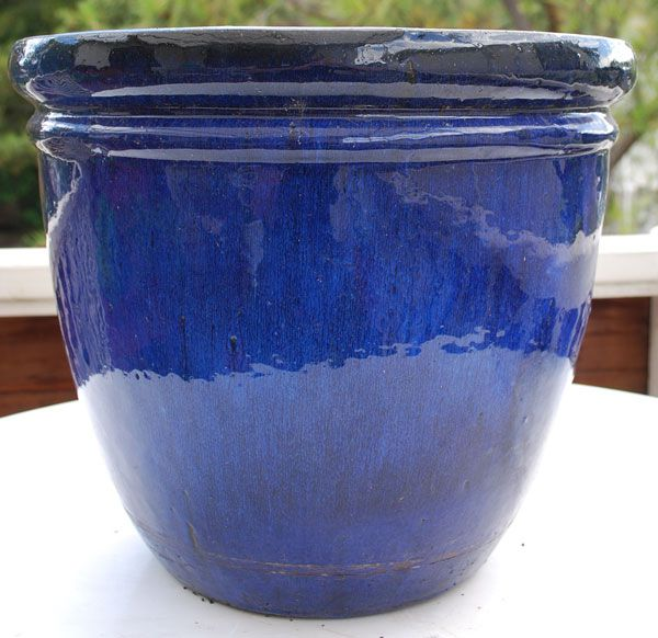 blue glazed planters large - Google Search | Deck | Large