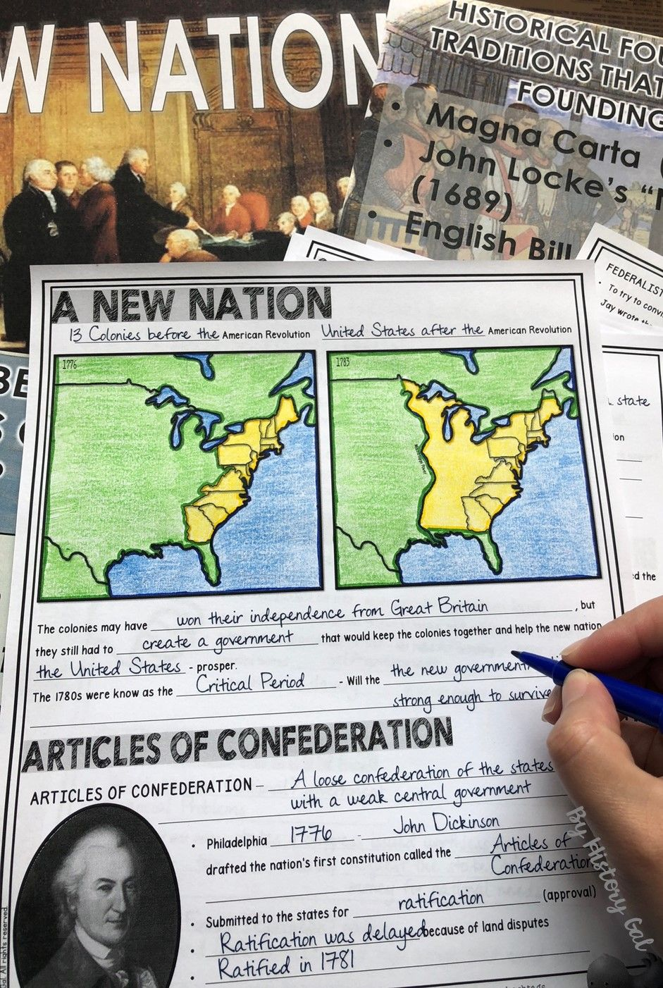medium resolution of This 49 slide PowerPoint presentation covers the Articles of Confederation  and the Co…   Social studies worksheets