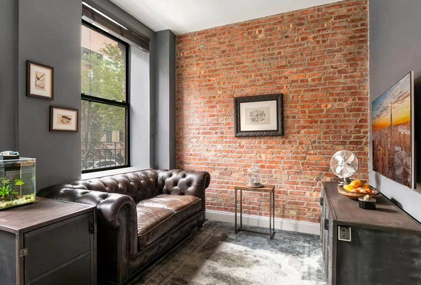 exposed brick wall living room design ideas living on brick wall id=44832