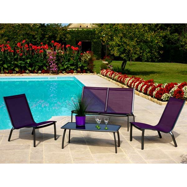 Salon de jardin Alu 4 places Royal grey Cassis LOUNGE LINEA - Maison ...
