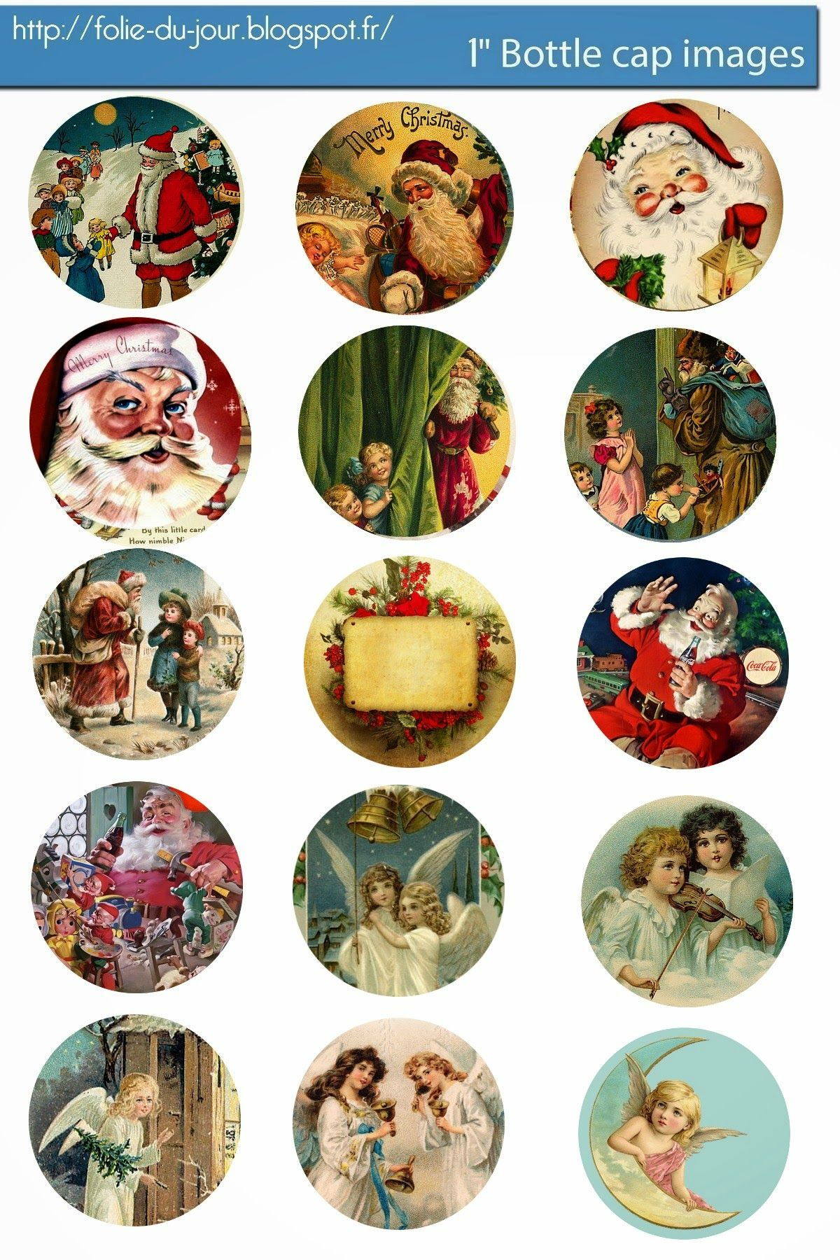 free bottle cap images vintage christmas santa claus free bottle